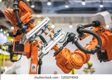 robotic arm at industrial manufacture factory