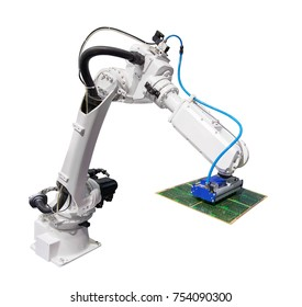 robotic arm for industry with pcb board isolated on white