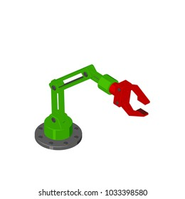 Robotic arm. Isolated on white background. 3D rendering illustration. Cartoon style.Isometric view.