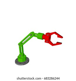 Robotic arm. Isolated on white background. 3D rendering illustration. Cartoon style.