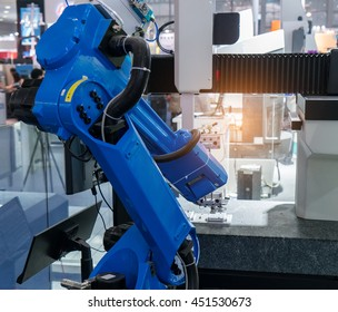 robotic arm machine tool at industrial manufacture factory