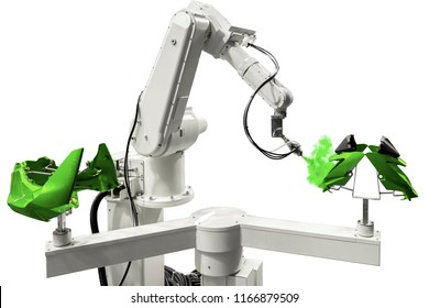 Robotic arm painting spray to the automotive part. High-technology manufacturing concept. (with clipping path)