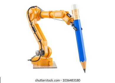 Robotic arm with pencil, 3D rendering isolated on white background