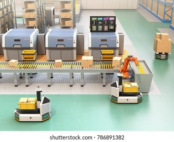 Robotic arm picking parcel from conveyor line to AGV (Automatic guided vehicle). Monitor of the manufacture line showing lines' process information. 3D rendering image.
