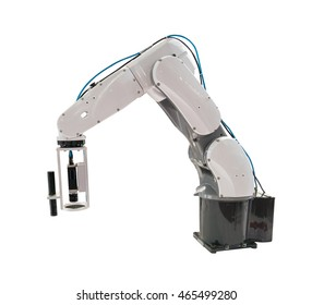 Robotic arm at production isolated on white