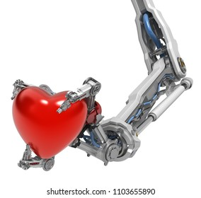 Robotic arm with three fingers, holding red heart Valentine symbol, 3d illustration, horizontal, over white, isolated