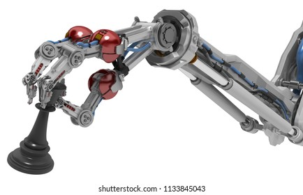 Robotic arm with three fingers holding chess piece, 3d illustration, horizontal, over white, isolated