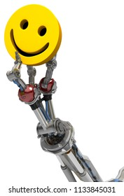 Robotic arm with three fingers, yellow smile symbol, 3d illustration, vertical, over white, isolated