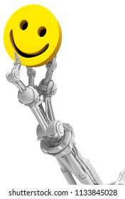 Robotic arm white with three fingers, yellow smile symbol, 3d illustration, vertical, isolated