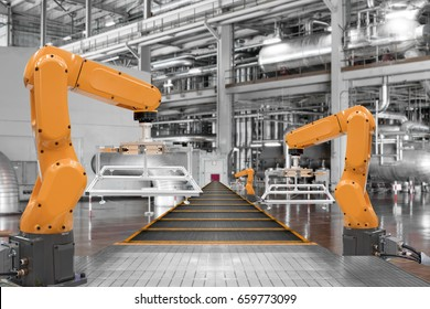 robotic arms automation and conveyor belt in the factory