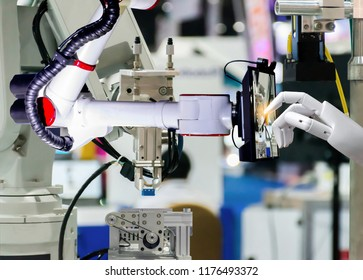Robotic artificial automated manufacturing smart robot touch screen tablet wireless.