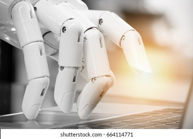 Robotic , artificial intelligence , robo advisor , chatbot concept. Robot finger point to laptop button with flare light effect.