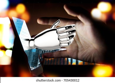 Robotic , artificial intelligence , robo advisor , chatbot concept. 3D rendering of Robot hand pop up out of mobile phone with flare light effect.