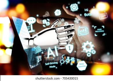 Robotic , artificial intelligence , robo advisor , chatbot concept. 3D rendering of Robot hand pop up out of mobile phone and neural network ai industry , technology icons with flare light effect.