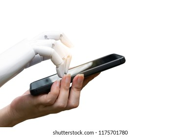 Robotic artificial intelligence transition human hand to robot hand press the smartphone button white background