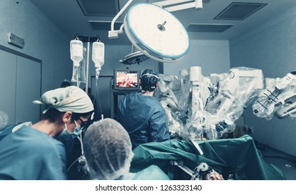 Robotic assisted minimally invasive surgery with surgical robot. Robotic surgical system in hospitals concept