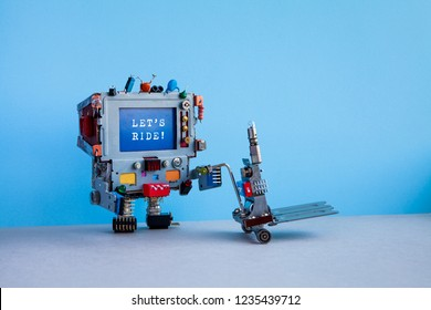 Robotic courier computer and message Lets Ride. Delivery service automation logistic concept. Robot moving pushcart mechanism. Blue wall, gray floor background. copy space