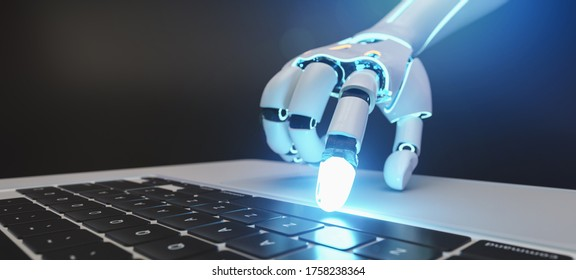 Robotic cyborg hand pressing a keyboard on a laptop