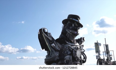 Robotic droids head and shoulders. Footage. Droid robot on background of sky with clouds. Technology concept