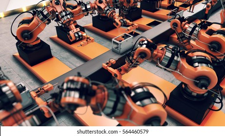 Robotic Factory assembling 3d printer on conveyor belt. 3d illustration