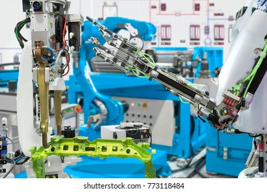 Robotic hand control robot industry in automotive manufacture, Future technology concept