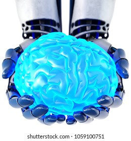Robotic hand holding human brain. Isolated on white background. Artificial intelligence concept, bionic brain. 3d illustration.