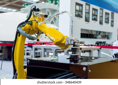 robotic hand machine tool at industrial manufacture facto