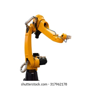 robotic hand machine tool isolated on white