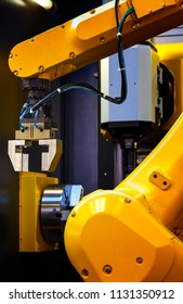 robotic hand machine tool with manipulator at industrial manufacture factory