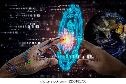 Robotic hand touch human hand, background deep space and technology icons,spirit of world,science advancement and human Medical development,Bionic technology,Elements of this image furnished by NASA