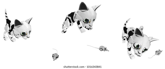 Robot pet images stock photos vectors shutterstock robotic kitten computer mouse hunt action 3d illustration horizontal over white isolated spiritdancerdesigns Gallery