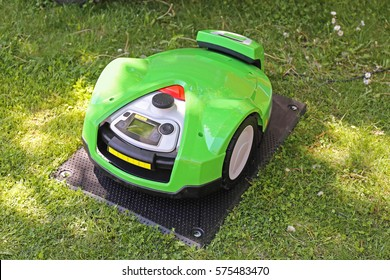 Robotic Lawn Mower at Charging After Cutting Grass