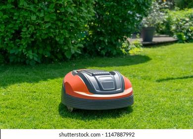 Robotic lawn mower on grass