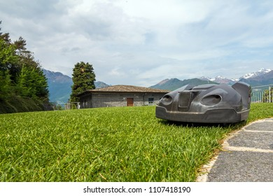 a robotic lawn mower working on a green grass field near Como lake. Italy