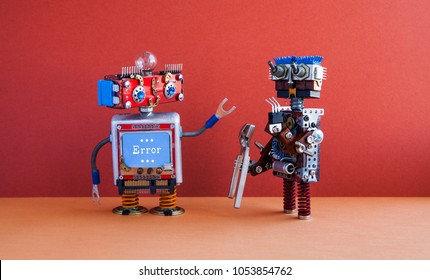 Robotic maintenance repair fix concept. IT specialist robot transformer with pliers, smiley face computer, error warning message on blue screen. Red wall, brown floor background