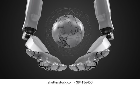 A robotic mechanical arm with globe. Strong stylish futuristic design concept. Cybernetic  organism with Artificial Intelligence.