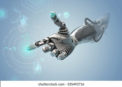 A robotic mechanical arm looks as like a human hand. Finger touching gesture. Cyber with Artificial Intelligence working with virtual Infographic HUD. Shining icons as control elements on background.