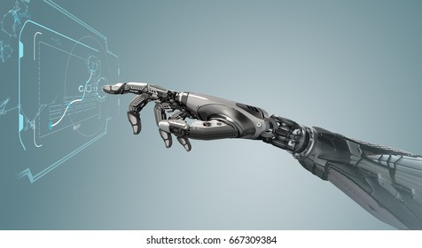 A robotic mechanical arm looks as like a human hand touching a touchscreen. Cybernetic organism with Artificial Intelligence working with Infographic background. Futuristic design concept