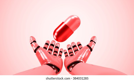 A robotic mechanical arm with pill. Strong stylish futuristic design concept. Cybernetic  organism with Artificial Intelligence.