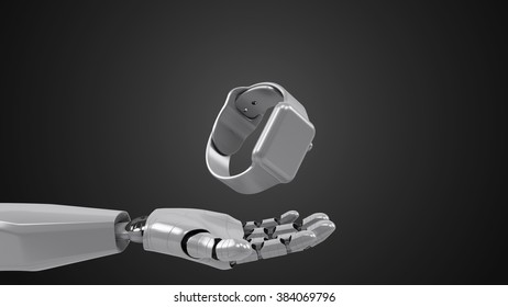 A robotic mechanical arm with Smart watch. Strong stylish futuristic design concept. Cybernetic organism with Artificial Intelligence.