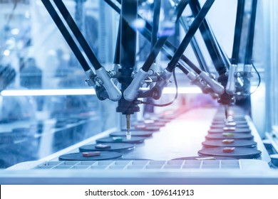 robotic pneumatic piston sucker unit on industrial machine,automation compressed air factory production - Shutterstock ID 1096141913