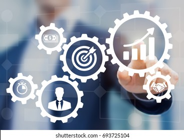Robotic process automation for business management and workflow diagram with gears and icons with flowchart in background. Manager touching interface