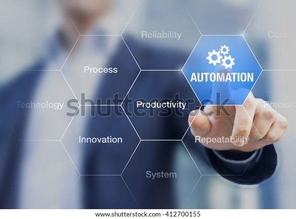 Präsentation über die Automatisierung als Innovation zur Verbesserung der Produktivität, Zuverlässigkeit und Wiederholbarkeit von Systemen oder Prozessen