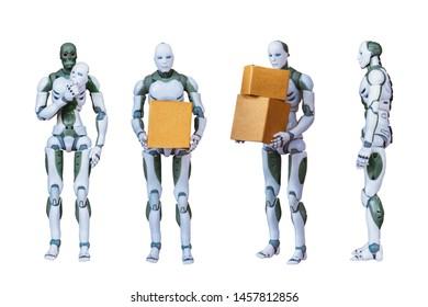 Robotic Process Automation Intelligent robot technology on a white background