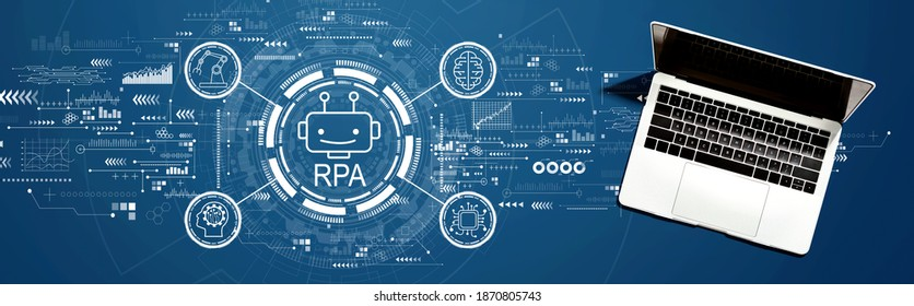 Robotic Process Automation RPA theme with a laptop computer on a desk