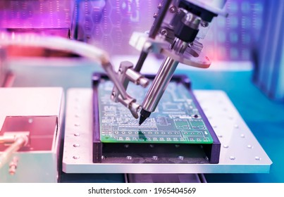 robotic soldering iron tips of system for automatic point soldering for printed and assembly electric circuit board ( PCB ) at factory