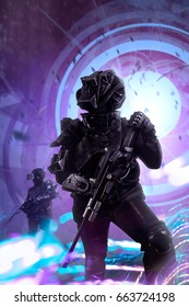 Robotic swat soldiers on a future city background. Robotic swat soldier team in futuristic tactical outfit armor and weapons standing on a science fiction background with glowing beam effect.
