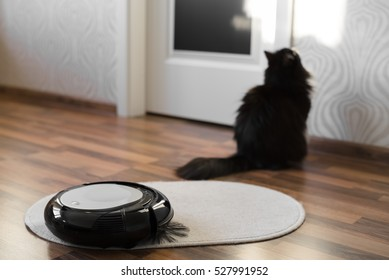 Robotic vacuum cleaner on little white carpet with black cat on background