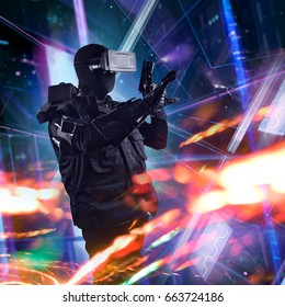 Robotic vr swat soldier on a future city background. Robotic swat soldier in futuristic tactical outfit armor, vr helmet and weapons standing on a science fiction background.