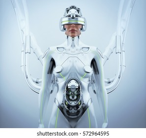 Robotic woman with cable connection in VR helmet waiting for baby, 3d render / Pregnant robotic woman in VR helmet